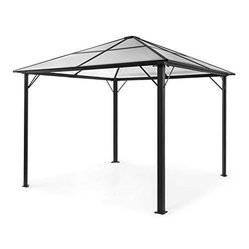blumfeldt Pantheon Solid Sky Pavillon • Gazebo • Pergola • Aluminiumkantrohr • überdachte Fläche: 3x3 m • 7,6x7,6 cm • Eckpfosten mit 1,2 mm Materialdicke • rostfrei • ohne Seitenwände • schwarz
