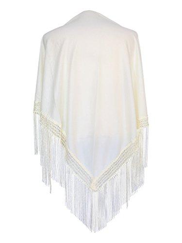 La Señorita Mantones bordados Flamenco Manton de Manila colores diferentes (blanco crema)