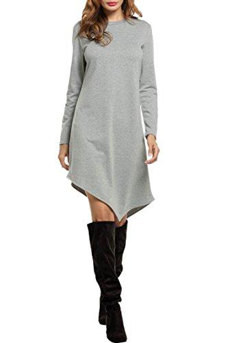 Meaneor Damen Unregelmäßige Longshirt Pullikleid Rundhals Langarm Minikleid Tunika Bluse Casual Kleid Grau M 38 (Opera Büste)