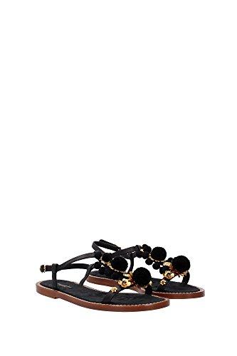 CQ0079AD3818S574 Dolce&Gabbana Sandale Femme Cuir Noir Noir