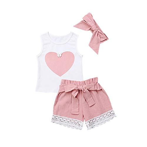 Sommer-Outfit für Baby Mädchen, Liebe herzige niedliche Weste Shirt Top und Shorts und Stirnband 3 Stück Kleidung Set -