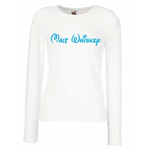 lepni.me Weibliche Langen Ärmeln T-Shirt Malt Whisky - lustige Trinkzitate, Coole Alkohol Sprüche (Medium Weiß (Weibliche Kobold Kostüm)