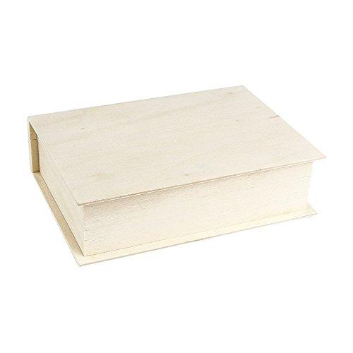 Aufbewahrungsbox aus Holz, Form: Buch, 4cm x15cm x11cm | Schmuckkästchen, Schatulle, Kasette mit Klappdeckel | DIY, Heimwerken, Basteln