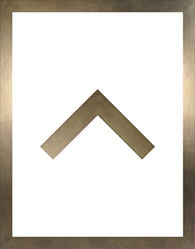 RahmenMax Morena Holz Werkstoff Bilderrahmen 48 x 68 cm modernes sehr eckiges Profil 68 x 48 cm Grosse Farbauswahl jetzt: Bronze Dekor mit Kunstglas klar 1 mm