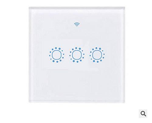 WiFi Smart Touch-Schalter, 1/2/3 Gang-Schaltfeld für Alexa APP Timer, Weiß/Schwarz-Glas-Berührungssensor-Lichtschalter, Smartphone-Fernbedienung (3 Gang(White), 欧规)