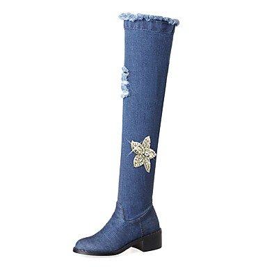 eans Herbst Winter Cowboystiefel / Westernstiefel Stiefel Blockabsatz Runde Zehe Oberschenkel-hohe Stiefel Strass , blue , us7.5 / eu38 / uk5.5 / cn38 (Oberschenkel Hohe Schuhe)