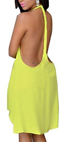 Sommer strand Partykleider Reizvolle Bauchweg Blusenkleider Halfter Ballkleid Ärmellos Sommerkleider Unregelmäßiges Midikleid Einfarbig blusen kleid Gelb
