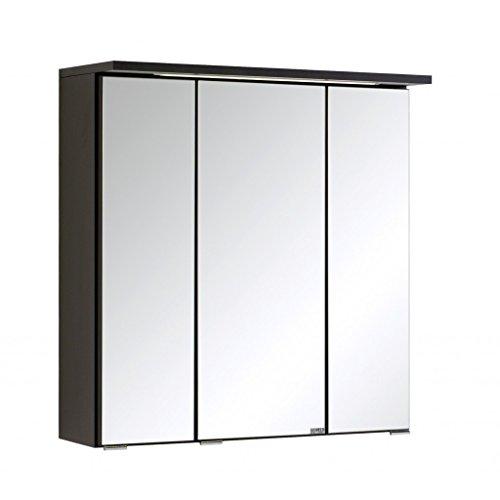 3D Spiegelschrank in 5 verschiedenen breiten Bolina Graphitgrau inkl. intergrierter Beleuchtung-Steckdose