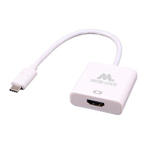 Mobi Lock Cavo Adattatore USB-C (3.1) a HDMI Compatibile con MacBook, Chromebook Pixel 2 e Altri USB-C Laptop/PC | Supporta Audio e Video Fino a 4K Ultra HD | Non Funziona con iPhone o iPad