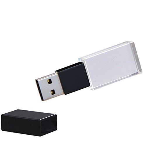 Uflatek 16 GB Transparent Kristall USB Stick 2.0 Wasserdicht Speicherstick Tragbar Flash Laufwerk mit Blau-LED Beleuchtung - Schwarz