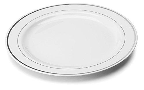 Speiseteller Plastikgeschirr Einwegteller weiß Silber Ø 23cm 20 Stk