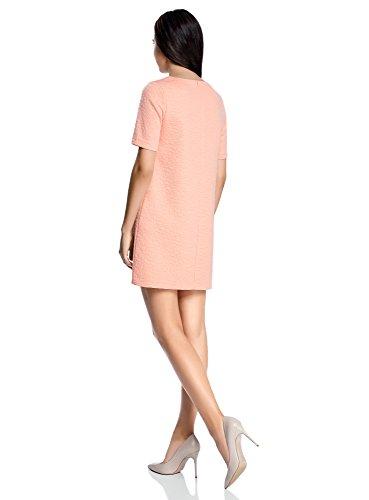 oodji Collection Damen Gerades Kleid aus Strukturiertem Stoff Rosa (5400N)