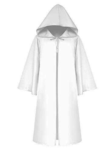Mescara Umhang mit Kapuze Kinder Mittelalter Kleidung Mantel Gotik Ritter Cape Lange Robe Halloween Kostüme Unisex Cosplay Hexe Vampir (M, Weiß)