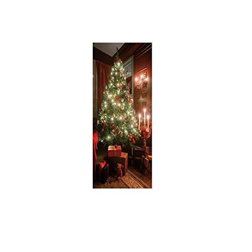 ODJOY-FAN Weihnachtsbaum Kreativ Türaufkleber Weihnachten Baum Tür Abdeckung Urlaub Abdeckungen...