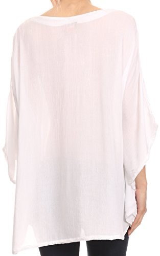 Sakkas Valeray Nature Floral brodé large long Poncho Tunique Shirt Top Blanc