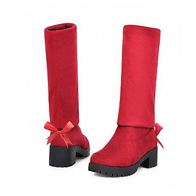 GLL&xuezi Da donna Stivaletti Stivali stivali slouch Autunno Inverno Elastene Pelle nubuck Felpato Casual Serata e festa Fiocco Quadrato Nero red