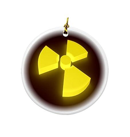 Rikki Knight Yellow Glow 3D Radioactive Sign Design Round Porcelain