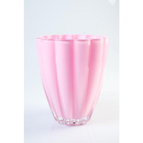 Kleine Glasvase / Tischvase BEA, pink / rosa, 17 cm, Ø 14 cm - Blumenvase / Dekovase - INNA Glas