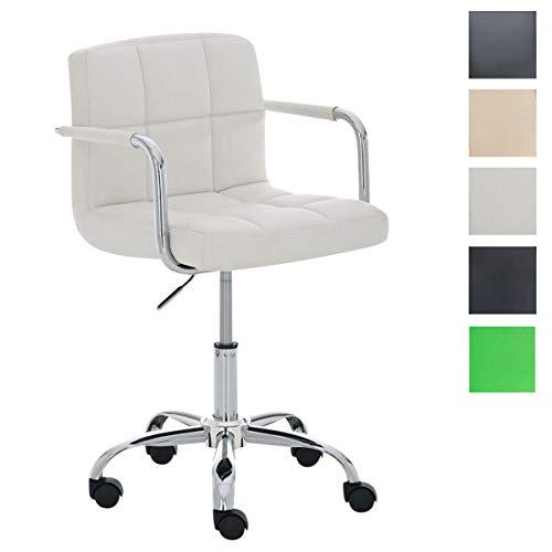 Clp sedia ufficio lucy in similpelle - sedia studio girevole, 5 ruote e pratici braccioli i sedia direzionale imbottita ed ergonomica i poltrona pc telaio in metallo cromato i portata max 120kg bianco