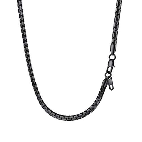 PROSTEEL Herren Halskette 4mm breit Ankerkette Schwarz Metall plattiert Punk Rock Biker Erbskette Gliederkette 51cm/schwarz