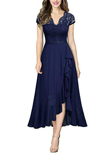 Miusol Damen Spitzenkleid Hüfte öffnen Abendkleid Cap Ärmel Cocktailkleid Maxi Partykleid Navy Blau L