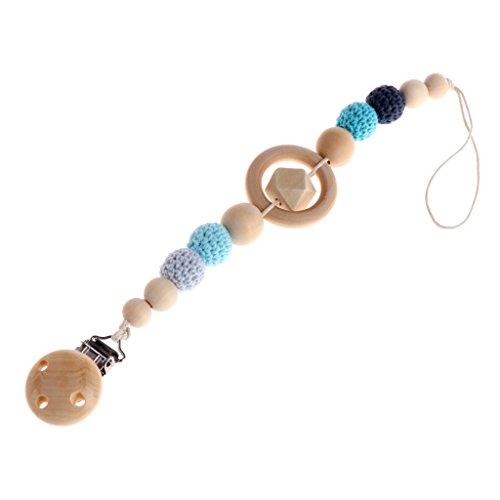Fogun Baby Schnullerkette, Baby Kinder Holz Perlen Schnuller Halter Clip Nippel Beißring Dummy Strap Kette (Blau) - Perlen Wolle Anzug