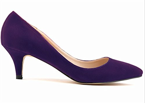 Wealsex Escarpins Suédé Talon Moyen Aiguille Bout Pointu Chaussure de Soirée Mariage Couleur Uni Simple Classique Talon 6 Cm Femme Violet