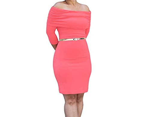 Bling-Bling Womens Red Three Quarter Sleeve Ruched Overlay Bust Bodycon Dress Size L