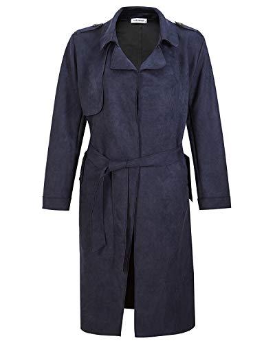 NOBLEMOON Damenjacke Cardigan Outwear Langarm Revers Trenchcoat Wildleder für den Frühling -