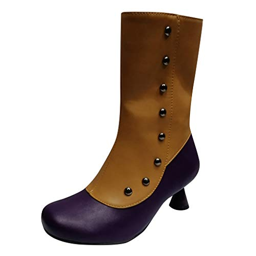 HOUMENGO Zapatos con Tira de Tobillo para Mujer, Botines de Cuero Zapatos de Punta Redonda Botas Vaqueras...