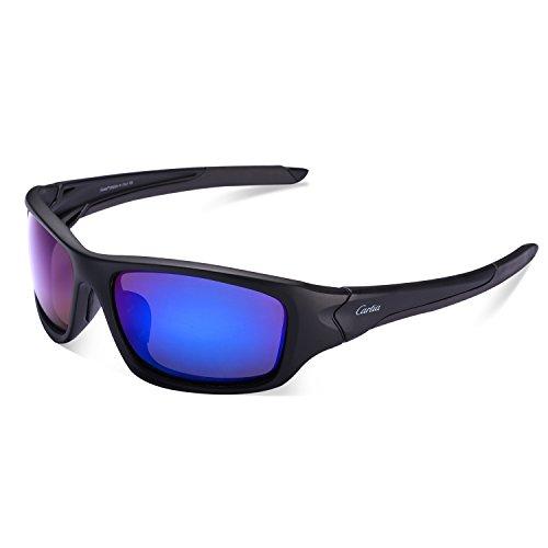 Carfia Premium Polarisierte Sport Sonnenbrille Outdoor Sportbrille Fahren Sonnenbrille für Damen und Herren Autofahren Ski Laufen Golf Angeln Radfahren, 100% UV400 Schutz