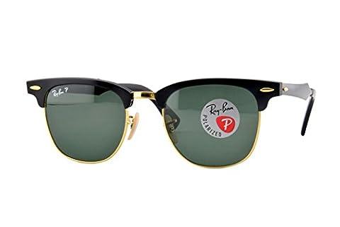 Ray Ban Sonnenbrille Clubmaster Aluminium, Gr. Medium (Herstellergröße: 49), Mehrfarbig (Gestell: Schwarz, Gläser: Polarized Grün Klassisch 136/N5)