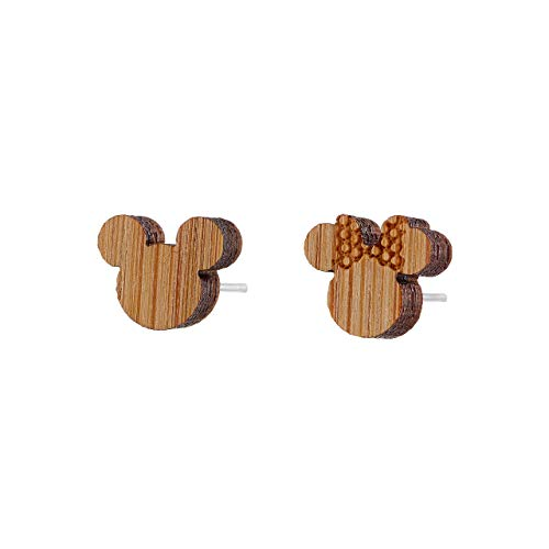 Selia Micky Maus Ohrring mini Ohrstecker minimalistisch gebürstete Optik handgemacht (holz)