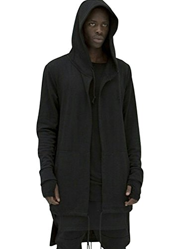 LIANIHK Oversize Cardigan Jacke Herren Sweatjacke Hoodie verschiedene Farben Schwarz