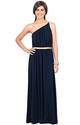 KOH KOH® Plus Size Damen Schulterfrei Cocktail Maxikleid Griechische Göttin Elegantes Abschlussfeier Kleid, Farbe Marineblau, Größe 3XL / 3X Large (Griechischen Frau Kostüm)