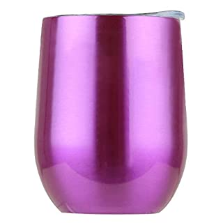 TianranRT Stainless Steel Stemless Wine Water Cup Double Wall Vacuum Insulation Transparentes Lila