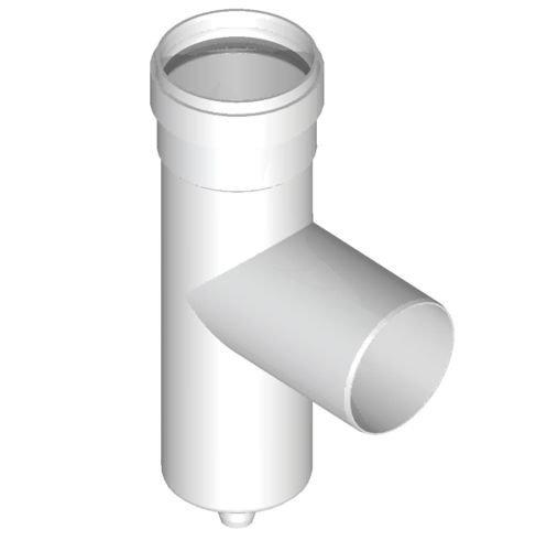 Tee 90° d. 80avec bouchon évacuation condensat en PPS pour chaudière à condensation