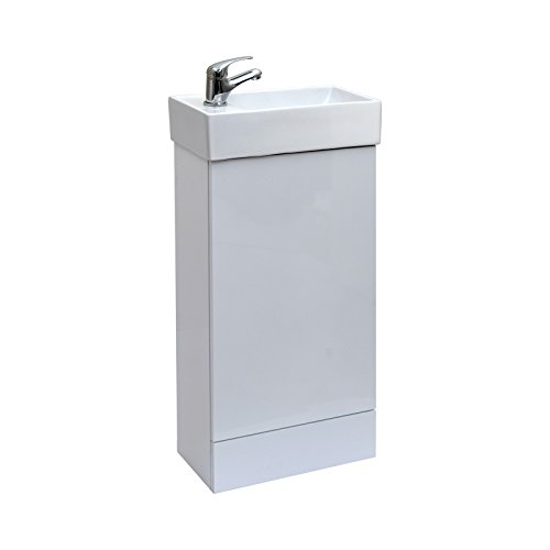 ENKI Waschbecken Weiss mit Unterschrank Badezimmer Waschtischarmatur -