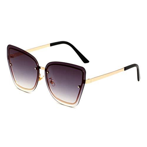 YHgiway Women Shades Rimless Sonnenbrille Gold Frame Cat Eye Oversize Designer Sun Brillen UV 400 Protection Driving Travel Eyewear YH71046,GoldFrame/GradientGray
