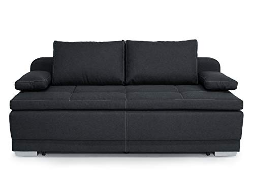 Collection AB B-famous Bonn Schlafsofa Boxspringsofa mit Bettkasten, Strukturstoff anthrazit, 202x98x99