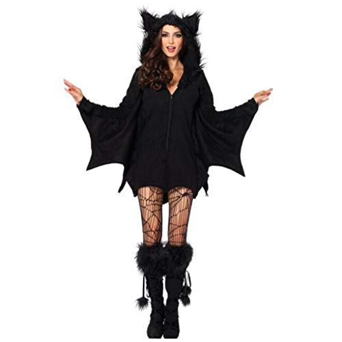 Cosplay Nachtelfen Kostüm - HZH Halloween Christmas Bat Women, einschließlich Kapuzenpullis, Schmetterlingssocken, schwarzen Fledermäusen, Spinnen, Nachtelfen, Cosplay Damenbekleidung und Übergrößen,Schwarz,XL