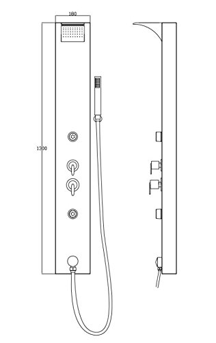 Silbernes Sanlingo Alu Duschpaneel Duschsäule mit Wasserfall, Regendusche und Massagedüsen