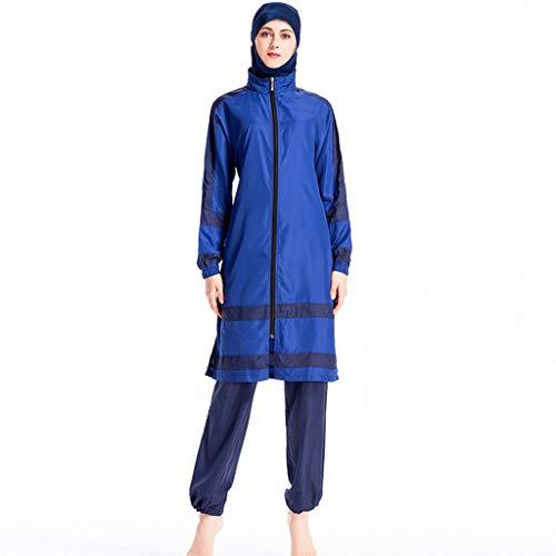 Xmansky Muslim konservative Damen Badehose mit Mützen dreiteilig, Badeanzug Beachwear Bademode Watersport/1PC Badekappe + 1PC Badeanzug + 1 PC Badehose -