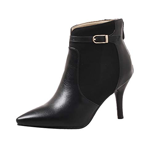 Bottines Chelsea Hiver Femmes,Overmal 2018 Mode Retro Solide Cuir Bottes Sexy Boots Sauvage Talon Hautes Chaussures Chaud Party Shoes