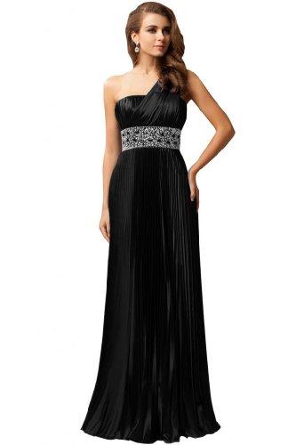 Sunvary A spalla raso-Line una sera abito da sera lungo con strass Nero