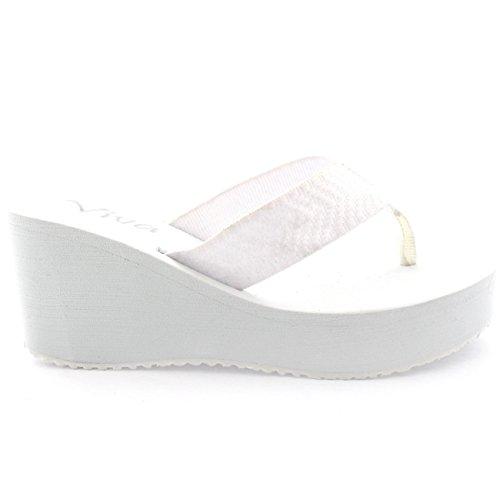Donna Piattaforma Zeppa Cinghia Sandali Estate Vacanza Infradito Sandal Bianco