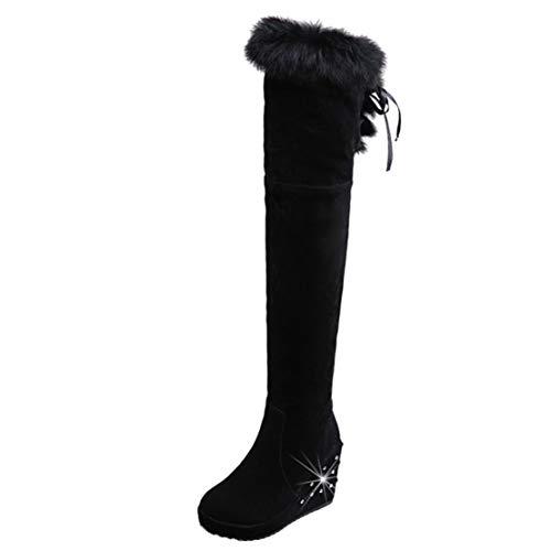 AIYOUMEI Damen High Heels Overkneestiefel Plateau Keilabsatz Overknee Stiefel mit Fell Boots Winter Schwarz 39.5 EU