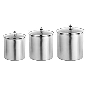 Amazon Brand - Solimo 3-Piece Stainless Steel Canister Set