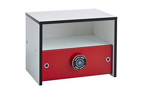 Demeyere 107208 Nachttisch mit 1 Schubladen und 1 Nische Rocket, 43 x 33 x 30 cm, rot / weiß