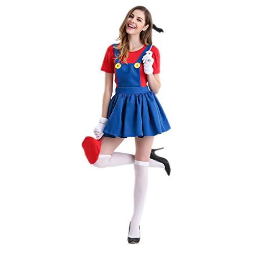 HOOLAZA Rot Frauen Rollenspiel Super Mario Brothers Kostüm Mario Erwachsene Cosplay Kleid 5 Stücke Kostüm - Womens Luigi Kleid Kostüm